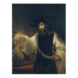 Aristóteles con un busto del home run de Rembrandt Tarjetas Postales