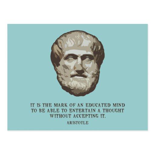 Aristotle Educated Mind Postcard
