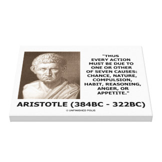 Aristotle Every Action One Of Seven Causes Quote Canvas Print