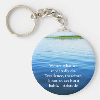 Aristotle Excellence Quotation Basic Round Button Keychain