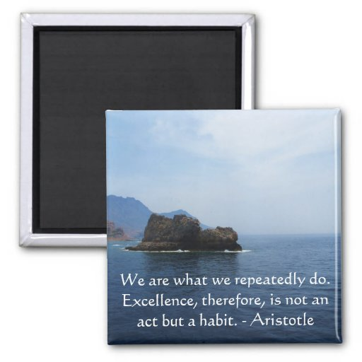 Aristotle Excellence Quotation 2 Inch Square Magnet