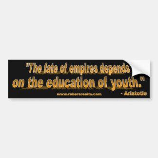Aristotle - fate of empires (gold over black) bumper sticker