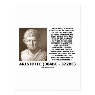 Aristotle Happiness Cultivated Minds Character Post Card