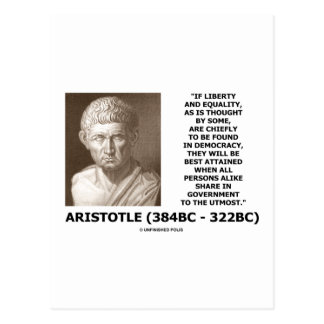 Aristotle Liberty Equality Democracy Share In Govt Postcard