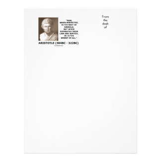 Aristotle Man Perfected Best Animals Law Justice Letterhead