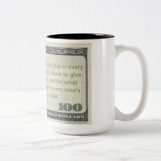 Aristotle Money Quote Mug: Giving Money Not Easy Two-Tone Coffee Mug
