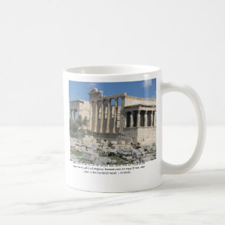 Aristotle quote about democracy with Acropolis Coffee Mug