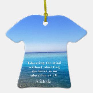 Aristotle quote about education, teachers, ethics christmas ornaments