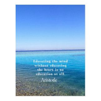 Aristotle quote about education, teachers, ethics post card