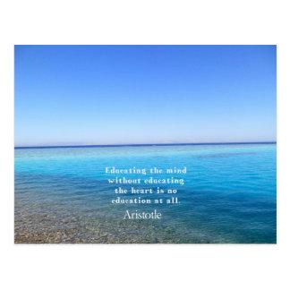 Aristotle quote about education, teachers, ethics postcard