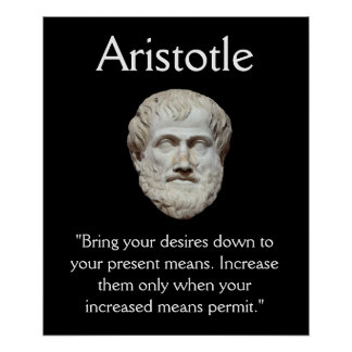 Aristotle - Self Control and Money Quote Print