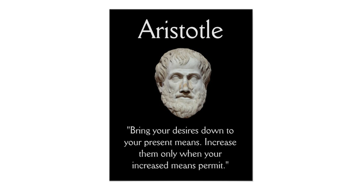 Aristotle - Self Control and Money Quote Poster | Zazzle