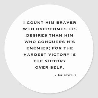 Aristotle - Victory over self Classic Round Sticker
