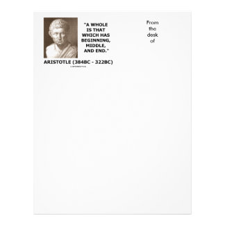 Aristotle Whole Which Has Beginning Middle End Letterhead