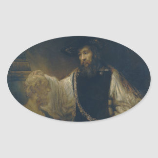 Aristotle with a Bust of Homer by Rembrandt Oval Sticker