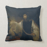 Aristotle with a Bust of Homer by Rembrandt Throw Pillow