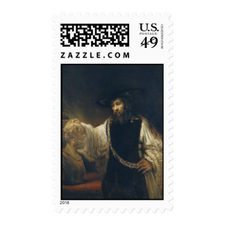 Aristotle With A Bust Of Homer by  Rembrandt Postage Stamp
