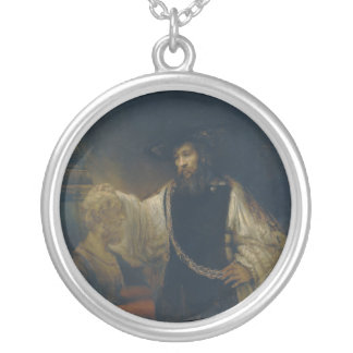 Aristotle with a Bust of Homer by Rembrandt Round Pendant Necklace