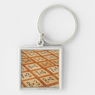 Arithmetic. Multiplication times table wooden Keychain