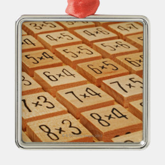 Arithmetic. Multiplication times table wooden Square Metal Christmas Ornament