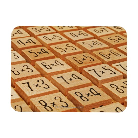 Arithmetic. Multiplication times table wooden Rectangular Photo Magnet