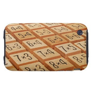 Arithmetic. Multiplication times table wooden Tough iPhone 3 Case