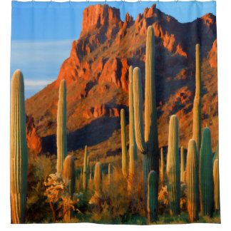 Arizon Desert Saguaro Cactus and Mountains Shower Curtain
