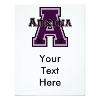 """Arizona """"A"""" Purple2 Invitación 4.25"""" X 5.5"""""""