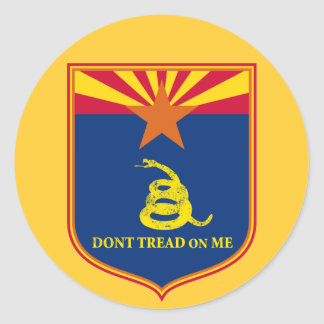 Arizona and Gadsden Flag Shield Classic Round Sticker
