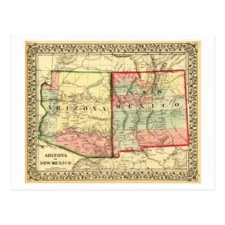 Arizona and New MexicoPanoramic Map Postcard