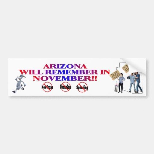Arizona - Anti ObamaCare, New Taxes & Spending Bumper Stickers