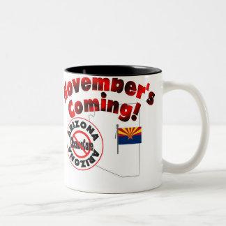 Arizona Anti ObamaCare – November's Coming! Two-Tone Coffee Mug