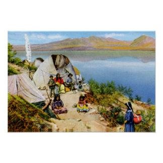 Arizona Apache Indians Camp Roosevelt Lake Poster