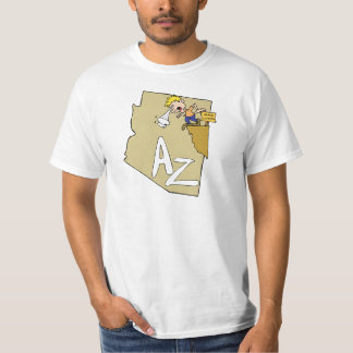 Arizona AZ Map & Grand Canyon Cartoon Art Motto T-Shirt