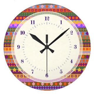 Arizona Aztec Desert Colors Southwest ZigZag Wall Clock