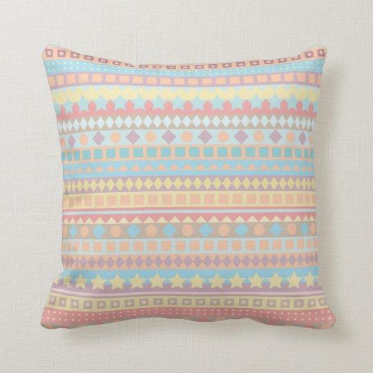 Arizona Aztec Dreams Purple and Aqua Pastel Stripe Throw Pillow