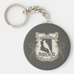 Basic Button Keychain with Arizona Birder design