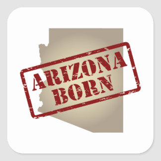 Arizona Born - Stamp on Map Square Sticker