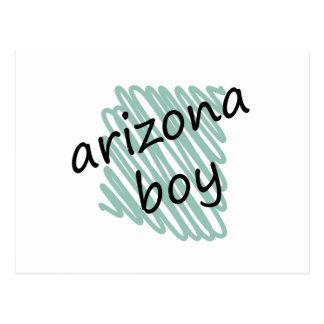 Arizona Boy on Child's Arizona Map Drawing Postcard