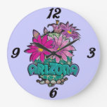 Arizona cactus flowers Wall Clock
