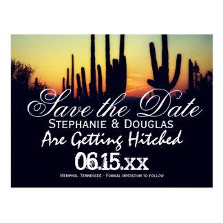 Arizona Cactus Sunset Save the Date Postcards