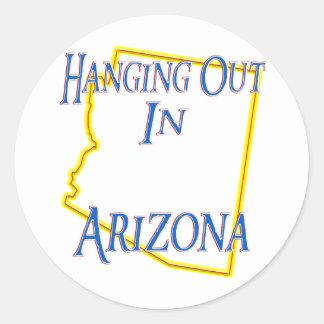 Arizona - colgando hacia fuera pegatinas redondas
