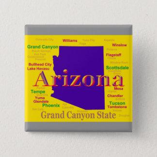 Arizona Colorful Map, Grand Canyon State Button