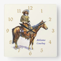Arizona Cowboy Remington Fine Art Square Wall Clock
