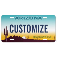 Arizona Custom License Plate at Zazzle