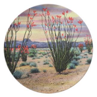 Arizona Desert Ocotillos in Bloom Melamine Plate
