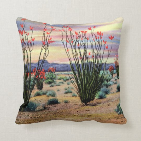 Arizona Desert Ocotillos in Bloom Throw Pillow
