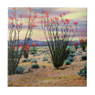 Arizona Desert Ocotillos in Bloom Tile