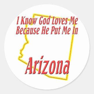 Arizona - dios me ama etiqueta redonda
