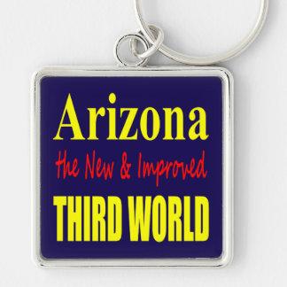 Arizona el TERCER mundo nuevo y mejorado Llavero Cuadrado Plateado
